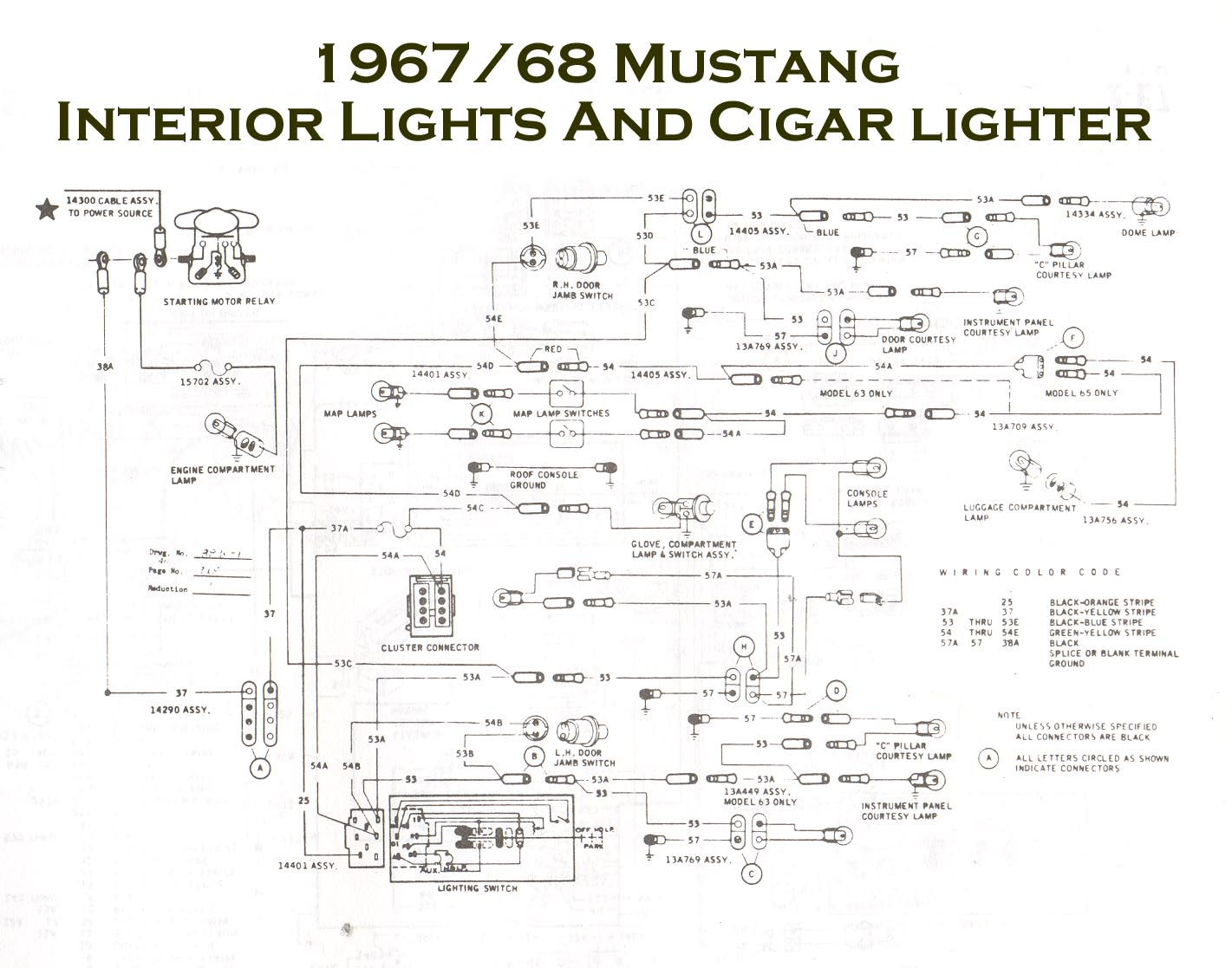 Vintage Mustang Wiring Diagrams 1987 Ford Stereo Harness Color Code Schematic 1967 68 Console Diagram