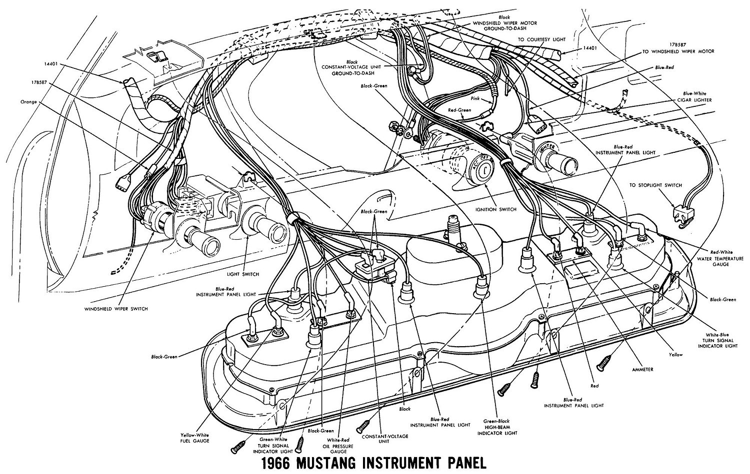 66instr vintage mustang wiring diagrams 1970 mustang wiring diagram download at n-0.co