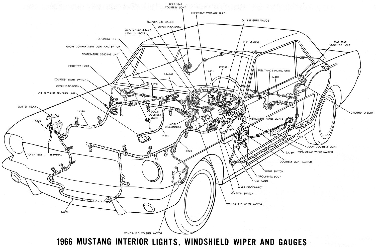 Vintage Mustang Wiring Diagrams Lighting Schematics 66 Interior Detail
