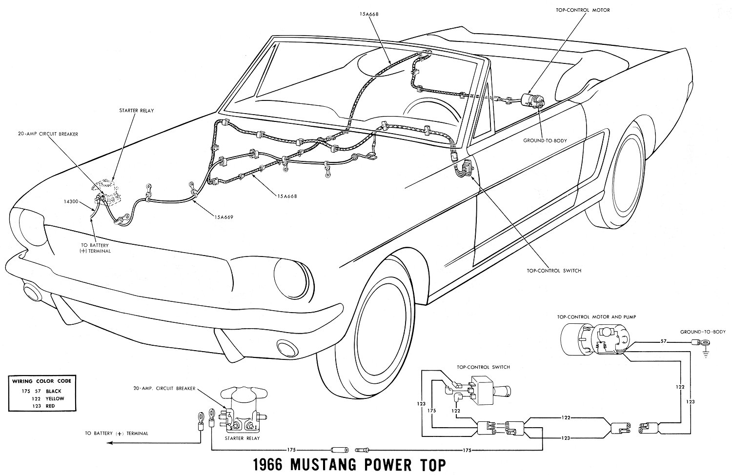 Vintage mustang wiring diagrams 66 power convertible top details publicscrutiny Images