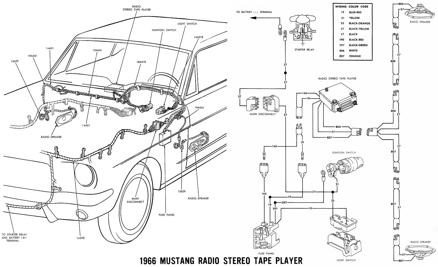 69 Mustang Radio Wiring Diagram Land 91 Fuse Box Wire Color Vintage Diagrams 67 66 Accessories Schematic Stereo Tape Player